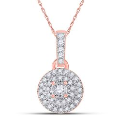 1/6 CTW Womens Round Diamond Circle Pendant 10kt Rose Gold - REF-13R5X