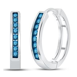 1/2 CTW Womens Round Blue Color Enhanced Diamond Hoop Earrings 10kt White Gold - REF-31W4H