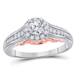 1/2 CTW Round Diamond Solitaire Bridal Wedding Engagement Ring 14kt White Gold - REF-90W5H