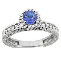 0.94 CTW Tanzanite & Diamond Ring 14K White Gold - REF-68W3F