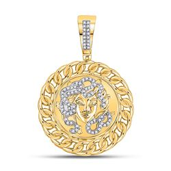 1/5 CTW Mens Round Diamond Medusa Circle Charm Pendant 10kt Yellow Gold - REF-61X4T