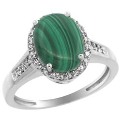 2.60 CTW Malachite & Diamond Ring 14K White Gold - REF-52A7X