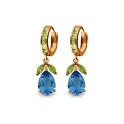 Genuine 14.3 ctw Blue Topaz & Peridot Earrings 14KT Rose Gold - REF-82T9A