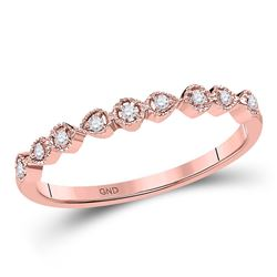 1/20 CTW Womens Round Diamond Stackable Band Ring 10kt Rose Gold - REF-13X5T