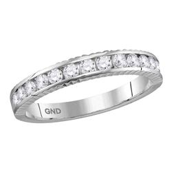 1/2 CTW Womens Round Diamond Wedding Anniversary Band Ring 14kt White Gold - REF-54X5T