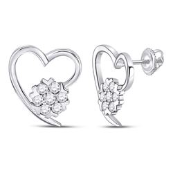 1/5 CTW Womens Round Diamond Heart Earrings 10kt White Gold - REF-25W9H