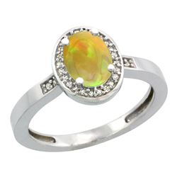 0.71 CTW Ethiopian Opal & Diamond Ring 10K White Gold - REF-32H5M