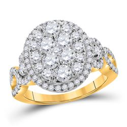 1 & 1/2 CTW Womens Round Diamond Oval Cluster Ring 14kt Yellow Gold - REF-143X2T