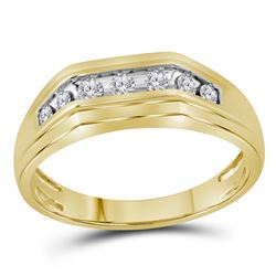 1/4 CTW Mens Round Diamond Flat Top Band Ring 10kt Yellow Gold - REF-33R5X