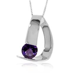 Genuine 1 ctw Amethyst Necklace 14KT White Gold - REF-50W5Y