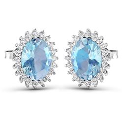 Natural 2.36 CTW Aquamarine & Diamond Earrings 14K White Gold - REF-43N3R