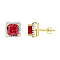 2 CTW Womens Princess Lab-Created Ruby Stud Earrings 10kt Yellow Gold - REF-24F5W