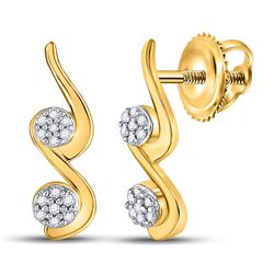 1/12 CTW Womens Round Diamond Cradled Double Cluster Earrings 10kt Yellow Gold - REF-9A5M