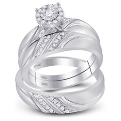 1/3 CTW His Hers Round Diamond Solitaire Matching Wedding Set 10kt White Gold - REF-66X2T