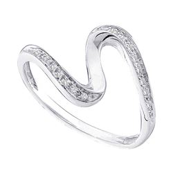 1/20 CTW Womens Round Diamond S Curve Band Ring 10kt White Gold - REF-11F6W