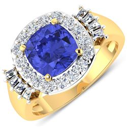 Natural 2.83 CTW Tanzanite & Diamond Ring 14K Yellow Gold - REF-115F3N
