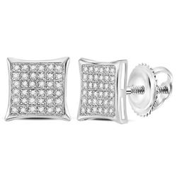 1/4 CTW Womens Round Diamond Square Cluster Earrings 14kt White Gold - REF-19N2A