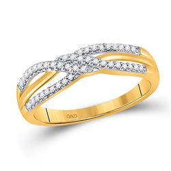 1/6 CTW Womens Round Diamond Crossover Band Ring 10kt Yellow Gold - REF-15Y2N