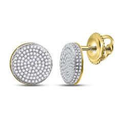 5/8 CTW Mens Round Diamond Circle Cluster Stud Earrings 10kt Yellow Gold - REF-46Y3N