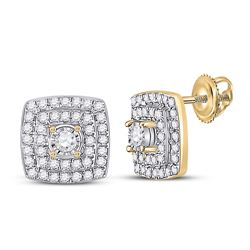 1/4 CTW Womens Round Diamond Square Earrings 10kt Yellow Gold - REF-27W3H