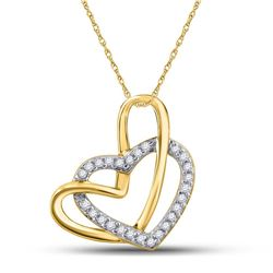 1/12 CTW Womens Round Diamond Heart Pendant 10kt Yellow Gold - REF-9Y5N
