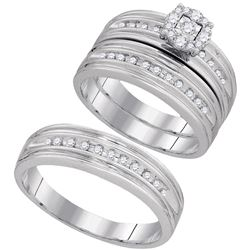 3/8 CTW His Hers Round Diamond Solitaire Matching Wedding Set 10kt White Gold - REF-51W8H