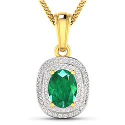 Natural 2.46 CTW Zambian Emerald & Diamond Pendant 14K Yellow Gold - REF-53R2F