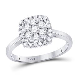 1/2 CTW Womens Round Diamond Right-Hand Cluster Ring 10kt White Gold - REF-45Y2N