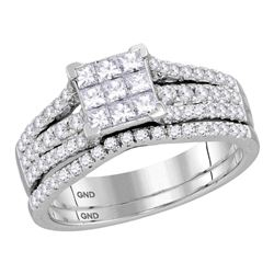 1 CTW Princess Diamond Cluster Bridal Wedding Ring 14kt White Gold - REF-74V9Y