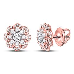 1/2 CTW Womens Round Diamond Halo Earrings 10kt Two-tone Gold - REF-40F8W