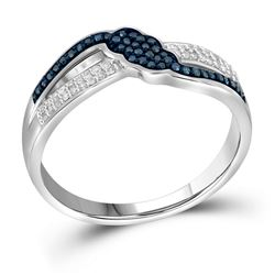 1/5 CTW Womens Round Blue Color Enhanced Diamond Fashion Ring 10kt White Gold - REF-23X3T