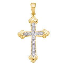 1/6 CTW Womens Round Diamond Cross Religious Pendant 10kt Yellow Gold - REF-12R2X