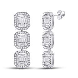 1 & 5/8 CTW Womens Baguette Diamond Dangle Earrings 14kt White Gold - REF-163V5Y
