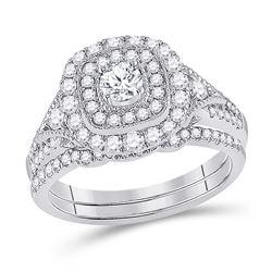 1 CTW Round Diamond Bridal Wedding Ring 14kt White Gold - REF-146V5Y