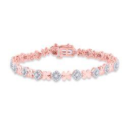1 CTW Womens Round Diamond Fashion Bracelet 14kt Two-tone Gold - REF-133N2A