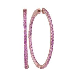 3 & 3/4 CTW Womens Round Pink Sapphire Slender Inside Outside Hoop Earrings 14kt Rose Gold - REF-109