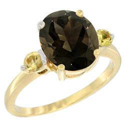 2.64 CTW Quartz & Yellow Sapphire Ring 10K Yellow Gold - REF-24V5R