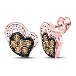 3/8 CTW Womens Round Brown Diamond Heart Stud Earrings 10kt Rose Gold - REF-28R5X