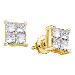 1/3 CTW Womens Princess Diamond Cluster Stud Earrings 14kt Yellow Gold - REF-31F4W
