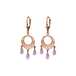 Genuine 3.75 ctw Amethyst Earrings 14KT Rose Gold - REF-43Z8N