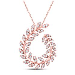 3/4 CTW Womens Round Diamond Vine Leaf Fashion Pendant 14kt Rose Gold - REF-58A5M