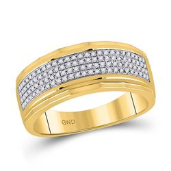 1/3 CTW Mens Round Diamond Band Ring 10kt Yellow Gold - REF-54V5Y