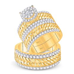 2 CTW His Hers Round Diamond Halo Matching Wedding Set 14kt Yellow Gold - REF-235F3W
