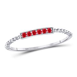 1/20 CTW Womens Round Ruby Beaded Stackable Band Ring 10kt White Gold - REF-8F3W