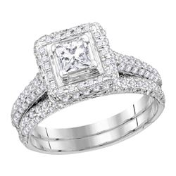 1 & 1/4 CTW Princess Diamond Halo Bridal Wedding Ring 14kt White Gold - REF-160H3R