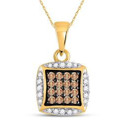 1/4 CTW Womens Round Brown Diamond Square Cluster Pendant 10kt Yellow Gold - REF-12R2X