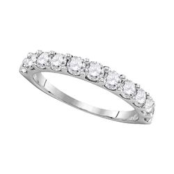 1 CTW Womens Round Pave-set Diamond Wedding Band Ring 14kt White Gold - REF-101X3T