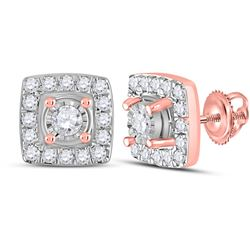 1/5 CTW Womens Round Diamond Square Earrings 10kt Rose Gold - REF-20W5H