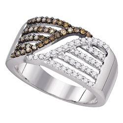 1/2 CTW Womens Round Brown Diamond Band Ring 10kt White Gold - REF-38X2T