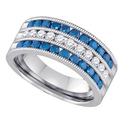 1 CTW Womens Round Blue Color Enhanced Diamond Milgrain Striped Band Ring 10kt White Gold - REF-71V6